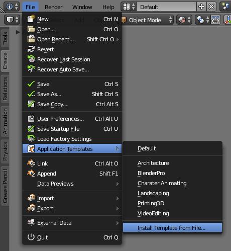 Install Application Templates Button